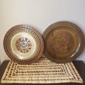 2 Vintage Polish Wood Ornate w/Brass Inlay Plates